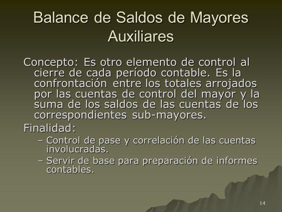 14 Balance de Saldos de Mayores Auxiliares Concepto: Es otro elemento de control al cierre de cada período contable. Es la confrontación entre los tot