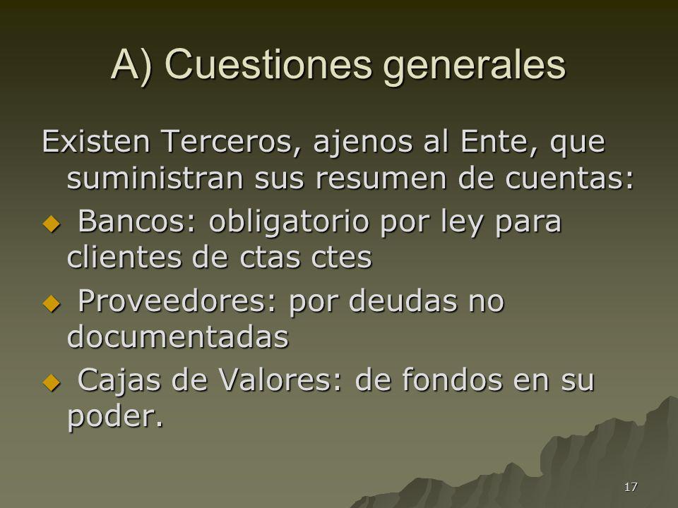 17 A) Cuestiones generales Existen Terceros, ajenos al Ente, que suministran sus resumen de cuentas: Bancos: obligatorio por ley para clientes de ctas