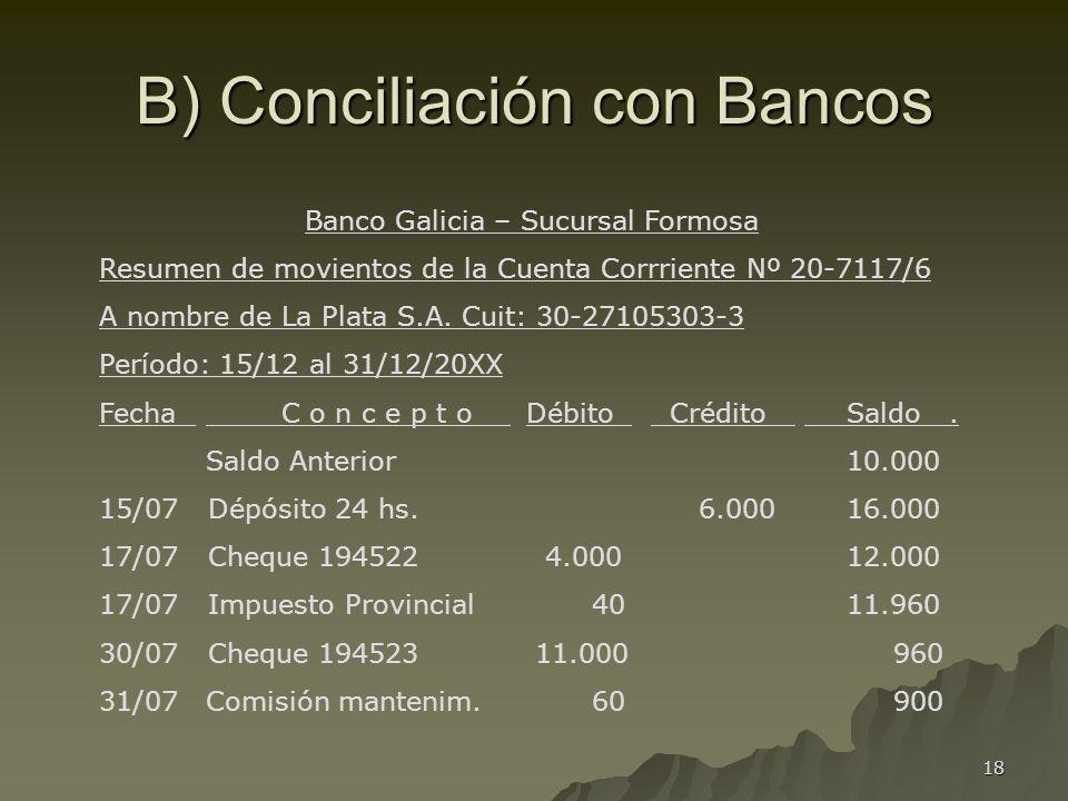 18 B) Conciliación con Bancos Banco Galicia – Sucursal Formosa Resumen de movientos de la Cuenta Corrriente Nº 20-7117/6 A nombre de La Plata S.A. Cui