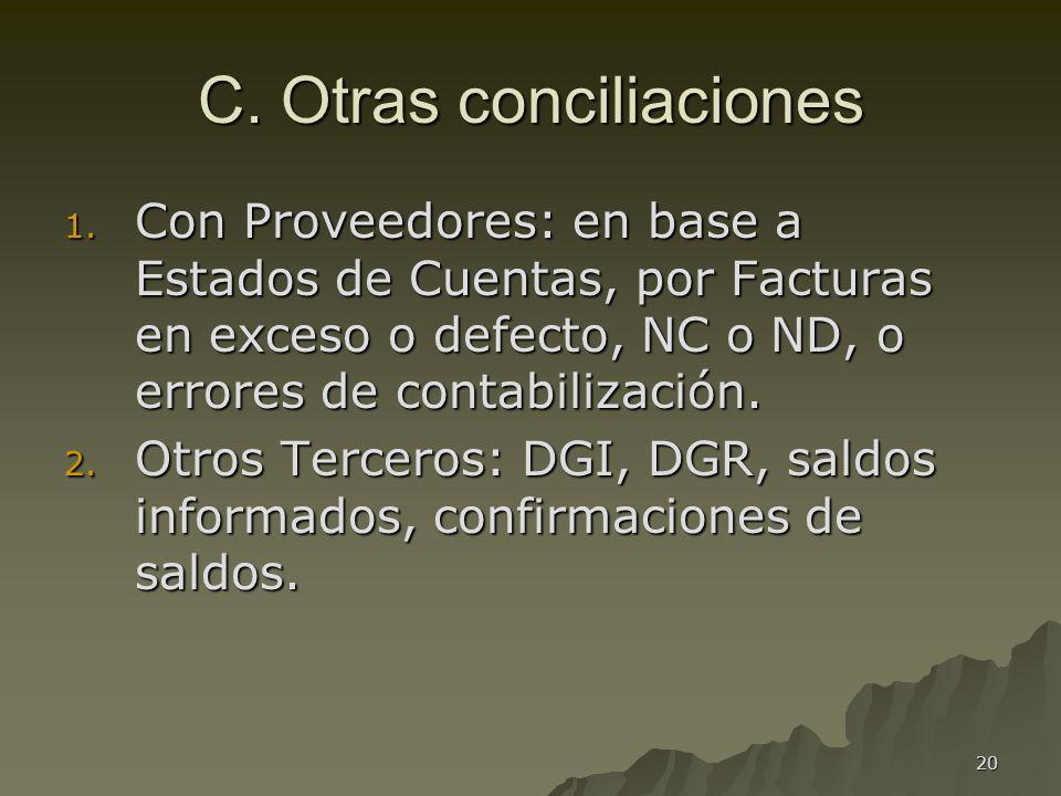 20 C. Otras conciliaciones 1. Con Proveedores: en base a Estados de Cuentas, por Facturas en exceso o defecto, NC o ND, o errores de contabilización.