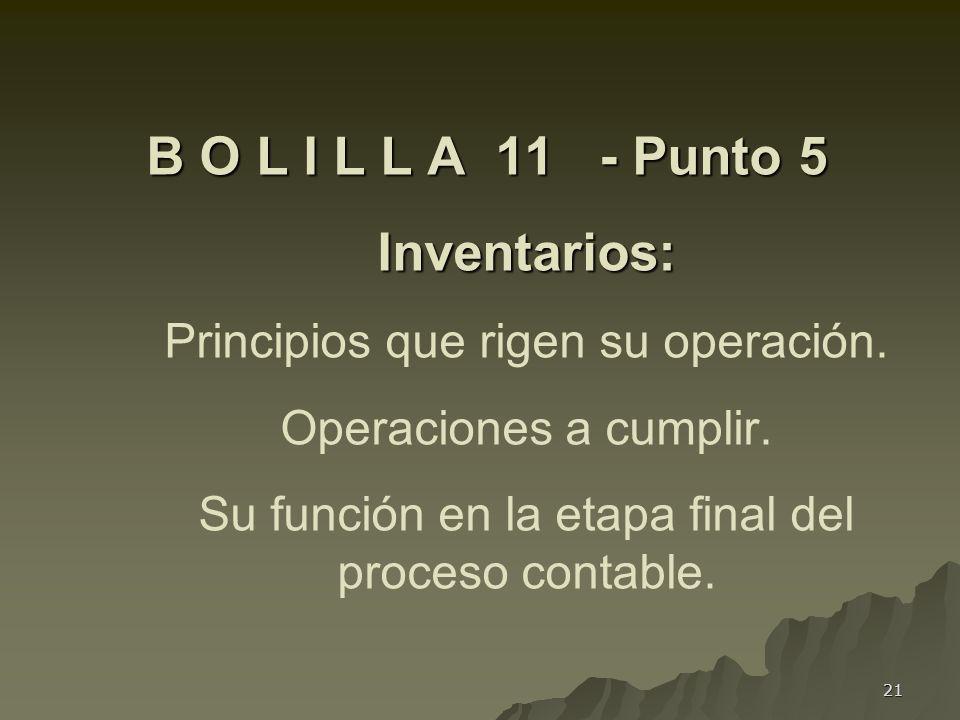 21 B O L I L L A 11 - Punto 5 Inventarios: B O L I L L A 11 - Punto 5 Inventarios: Principios que rigen su operación. Operaciones a cumplir. Su funció