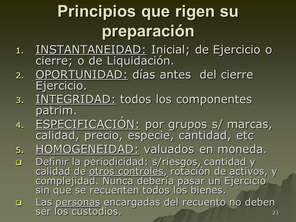 23 Principios que rigen su preparación 1. INSTANTANEIDAD: Inicial; de Ejercicio o cierre; o de Liquidación. 2. OPORTUNIDAD: días antes del cierre Ejer