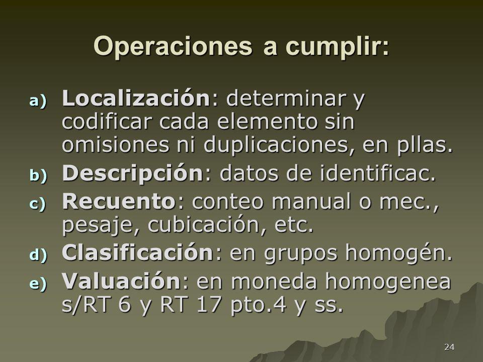 24 Operaciones a cumplir: a) Localización: determinar y codificar cada elemento sin omisiones ni duplicaciones, en pllas. b) Descripción: datos de ide