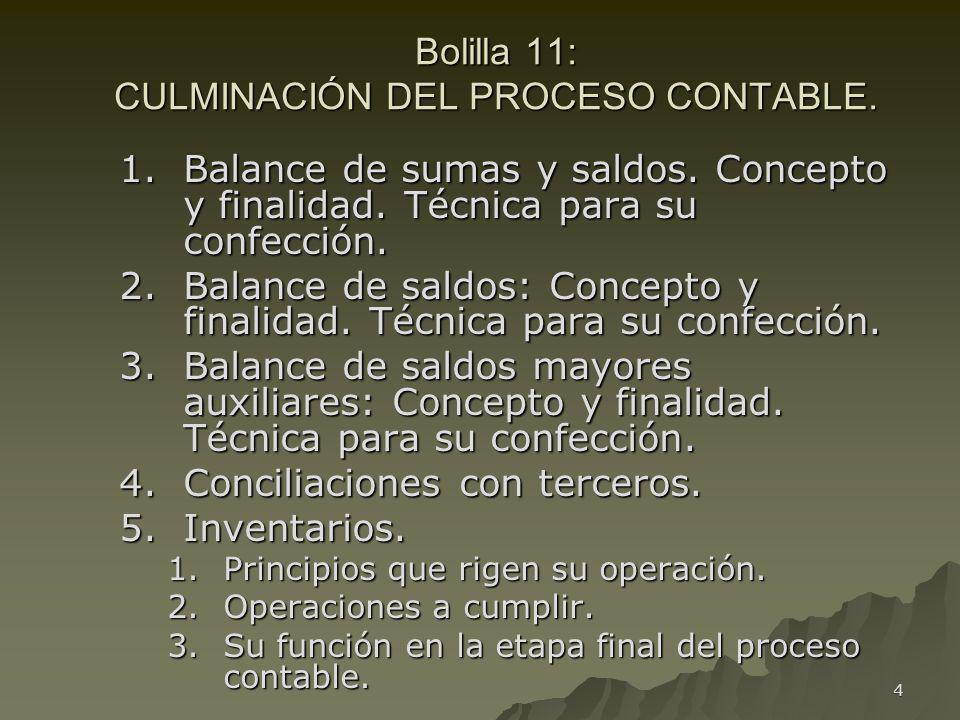 4 Bolilla 11: CULMINACIÓN DEL PROCESO CONTABLE. 1.Balance de sumas y saldos. Concepto y finalidad. Técnica para su confección. 2.Balance de saldos: Co