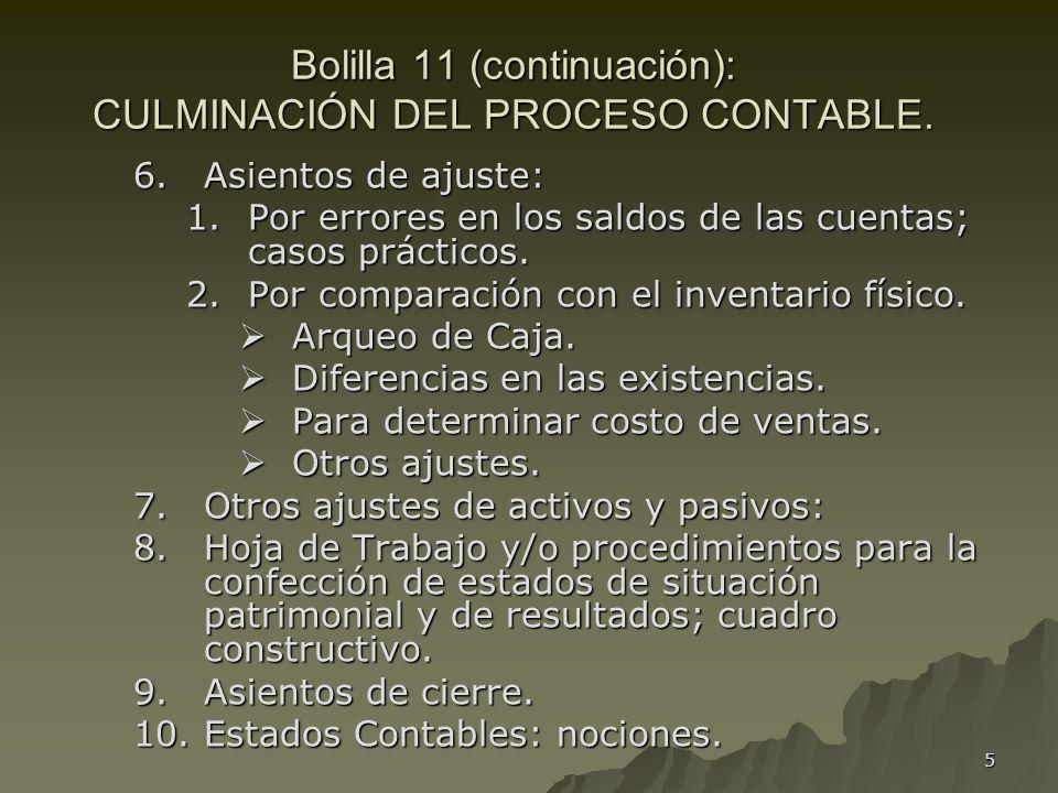 5 Bolilla 11 (continuación): CULMINACIÓN DEL PROCESO CONTABLE. 6.Asientos de ajuste: 1.Por errores en los saldos de las cuentas; casos prácticos. 2.Po