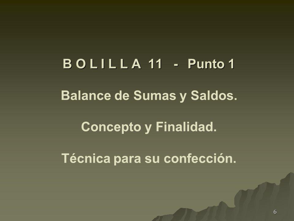 6 B O L I L L A 11 - Punto 1 B O L I L L A 11 - Punto 1 Balance de Sumas y Saldos. Concepto y Finalidad. Técnica para su confección.