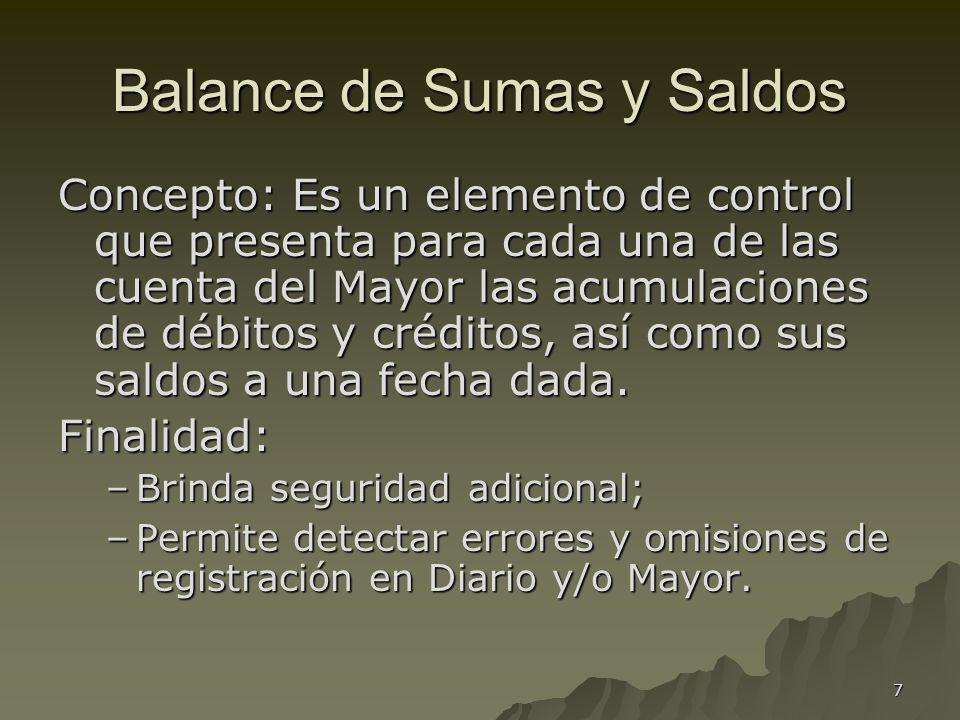 7 Balance de Sumas y Saldos Concepto: Es un elemento de control que presenta para cada una de las cuenta del Mayor las acumulaciones de débitos y créd