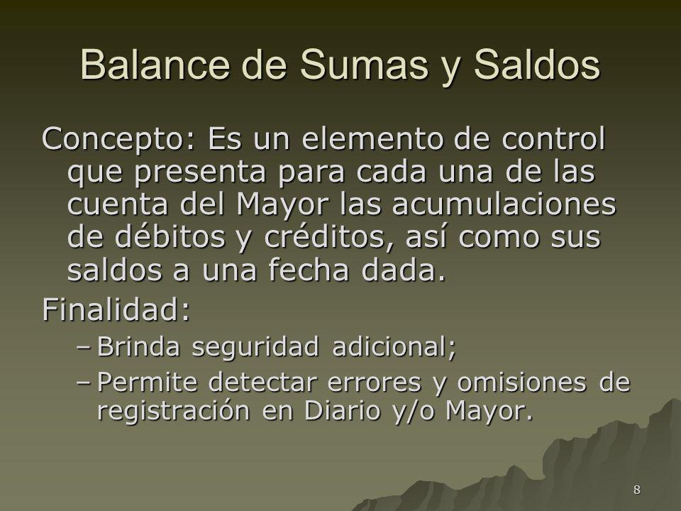 8 Balance de Sumas y Saldos Concepto: Es un elemento de control que presenta para cada una de las cuenta del Mayor las acumulaciones de débitos y créd