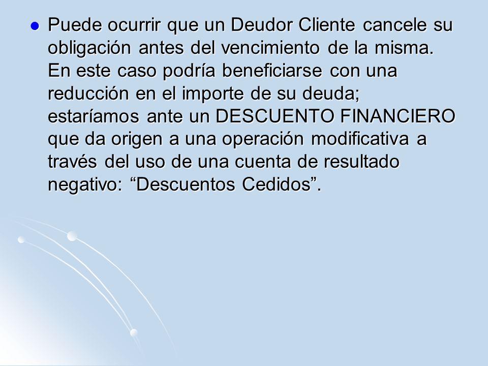 Si al pagar obtenemos un descuento financiero: operación modificativa.