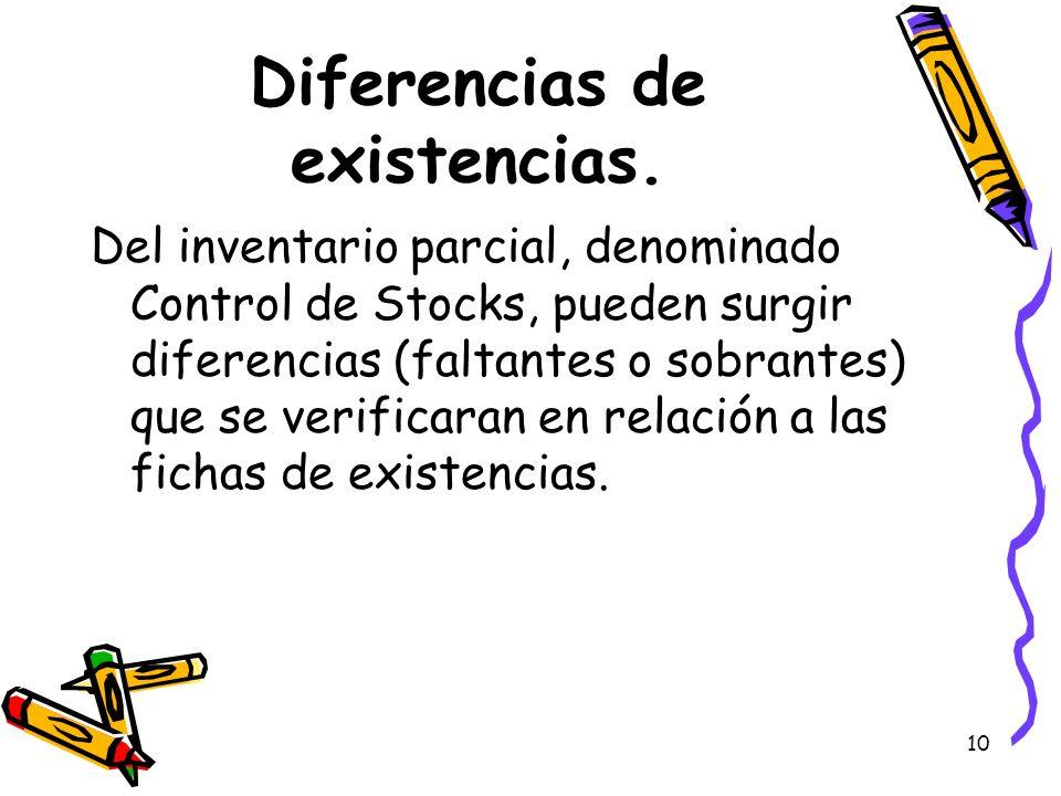 10 Diferencias de existencias. Del inventario parcial, denominado Control de Stocks, pueden surgir diferencias (faltantes o sobrantes) que se verifica