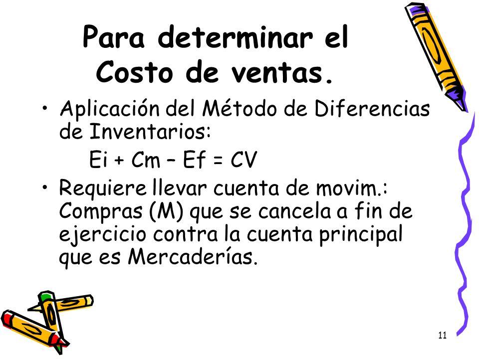 11 Para determinar el Costo de ventas. Aplicación del Método de Diferencias de Inventarios: Ei + Cm – Ef = CV Requiere llevar cuenta de movim.: Compra