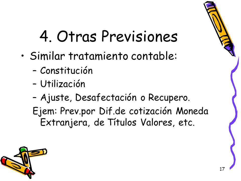 17 4. Otras Previsiones Similar tratamiento contable: –Constitución –Utilización –Ajuste, Desafectación o Recupero. Ejem: Prev.por Dif.de cotización M