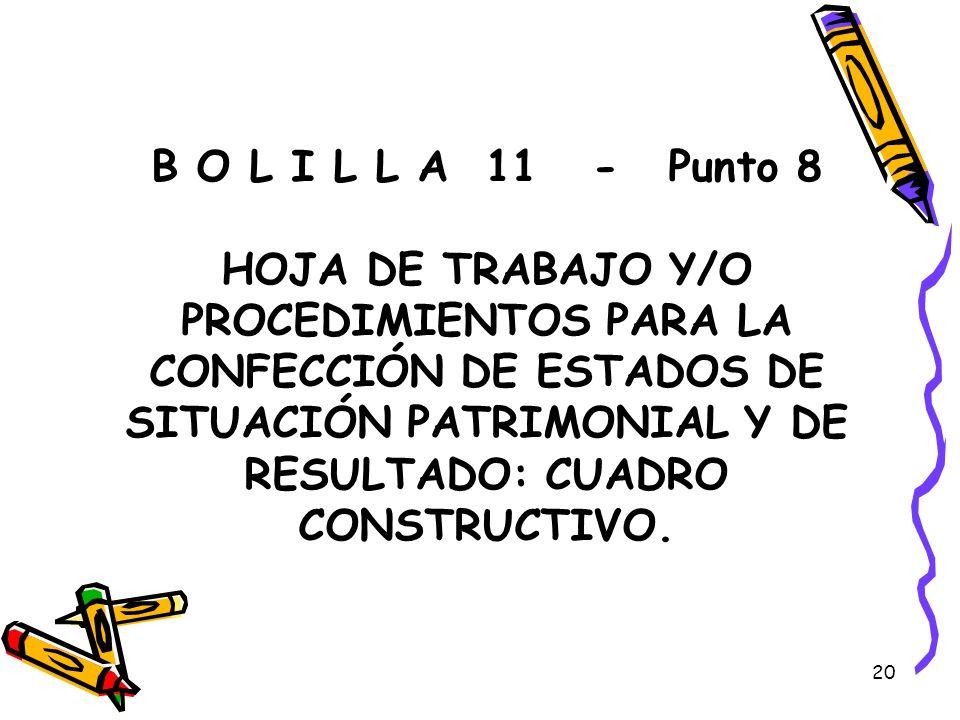 20 B O L I L L A 11 - Punto 8 HOJA DE TRABAJO Y/O PROCEDIMIENTOS PARA LA CONFECCIÓN DE ESTADOS DE SITUACIÓN PATRIMONIAL Y DE RESULTADO: CUADRO CONSTRU
