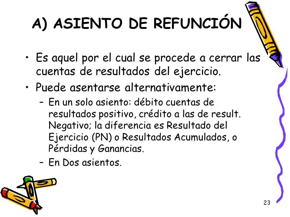 23 A) ASIENTO DE REFUNCIÓN Es aquel por el cual se procede a cerrar las cuentas de resultados del ejercicio. Puede asentarse alternativamente: –En un
