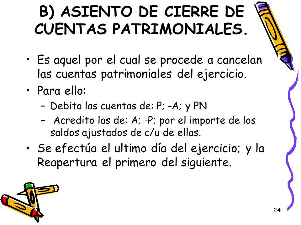 24 B) ASIENTO DE CIERRE DE CUENTAS PATRIMONIALES. Es aquel por el cual se procede a cancelan las cuentas patrimoniales del ejercicio. Para ello: –Debi