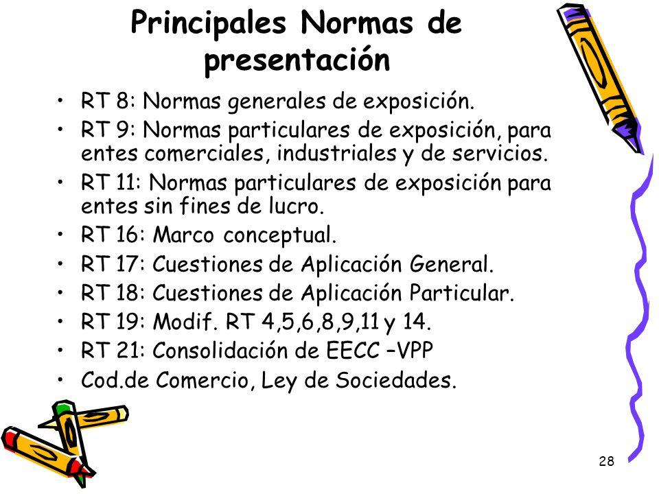 28 Principales Normas de presentación RT 8: Normas generales de exposición. RT 9: Normas particulares de exposición, para entes comerciales, industria