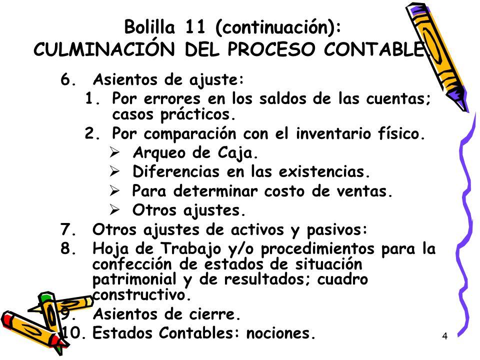 4 Bolilla 11 (continuación): CULMINACIÓN DEL PROCESO CONTABLE. 6.Asientos de ajuste: 1.Por errores en los saldos de las cuentas; casos prácticos. 2.Po