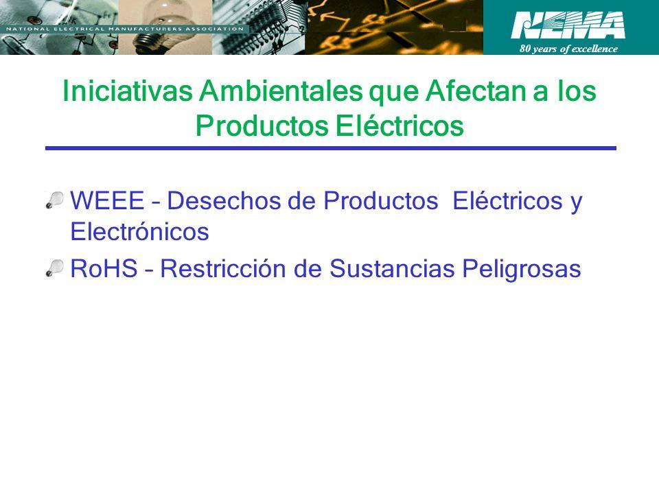 80 years of excellence Iniciativas Ambientales que Afectan a los Productos Eléctricos WEEE – Desechos de Productos Eléctricos y Electrónicos RoHS – Restricción de Sustancias Peligrosas