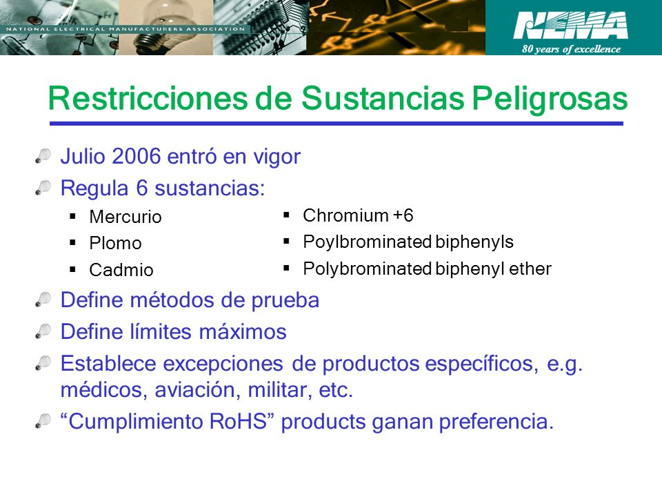 80 years of excellence Restricciones de Sustancias Peligrosas Chromium +6 Poylbrominated biphenyls Polybrominated biphenyl ether Julio 2006 entró en v