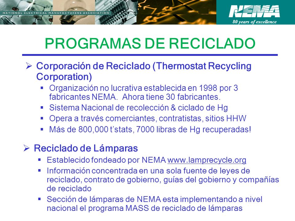 80 years of excellence PROGRAMAS DE RECICLADO Corporación de Reciclado (Thermostat Recycling Corporation) Organización no lucrativa establecida en 1998 por 3 fabricantes NEMA.