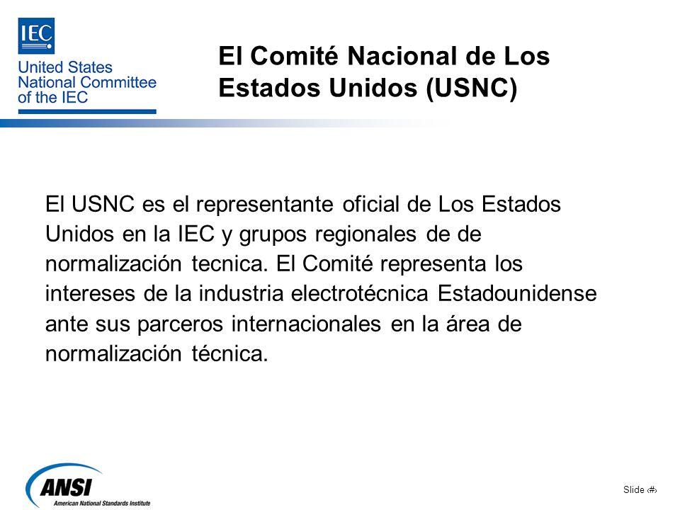 Slide 10 El Comité Nacional de Los Estados Unidos (USNC) El USNC es el representante oficial de Los Estados Unidos en la IEC y grupos regionales de de