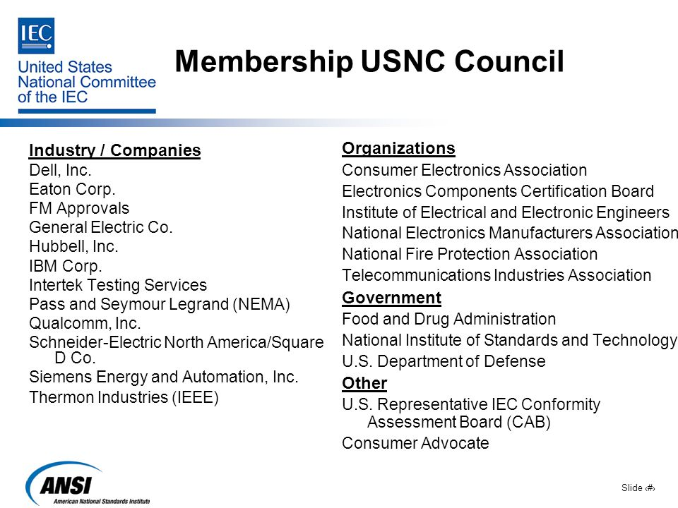 Slide 13 Membership USNC Council Industry / Companies Dell, Inc. Eaton Corp. FM Approvals General Electric Co. Hubbell, Inc. IBM Corp. Intertek Testin