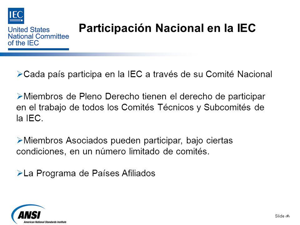 Slide 5 Participación Nacional en la IEC Cada país participa en la IEC a través de su Comité Nacional Miembros de Pleno Derecho tienen el derecho de p