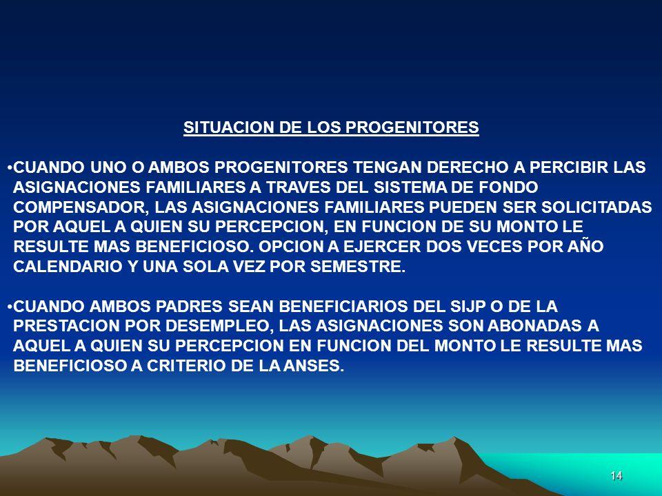 14 SITUACION DE LOS PROGENITORES CUANDO UNO O AMBOS PROGENITORES TENGAN DERECHO A PERCIBIR LAS ASIGNACIONES FAMILIARES A TRAVES DEL SISTEMA DE FONDO C