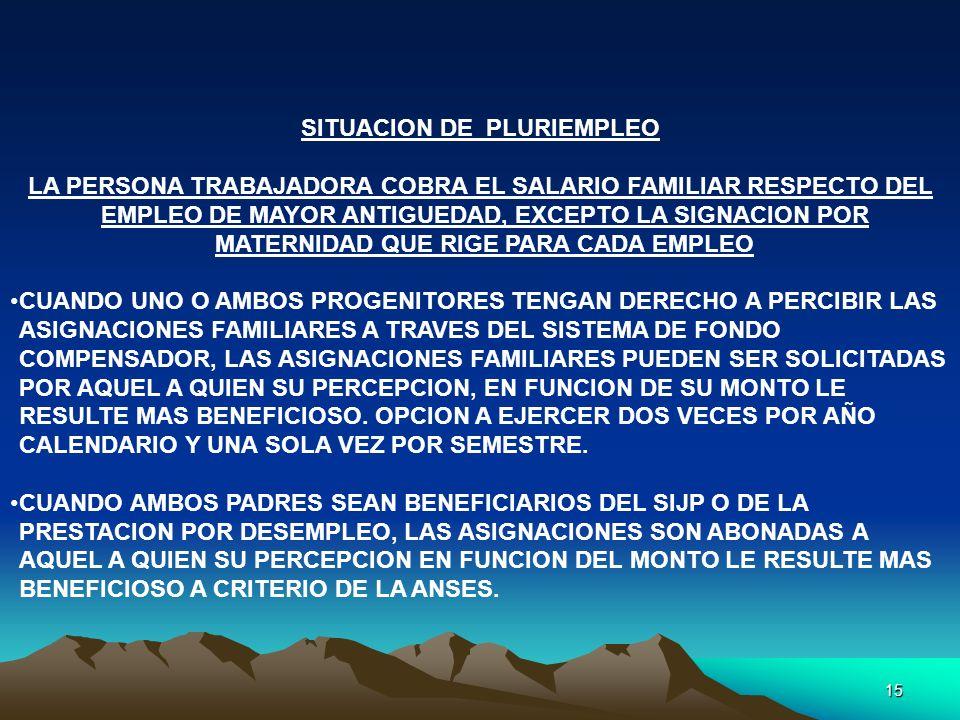 15 SITUACION DE PLURIEMPLEO LA PERSONA TRABAJADORA COBRA EL SALARIO FAMILIAR RESPECTO DEL EMPLEO DE MAYOR ANTIGUEDAD, EXCEPTO LA SIGNACION POR MATERNI