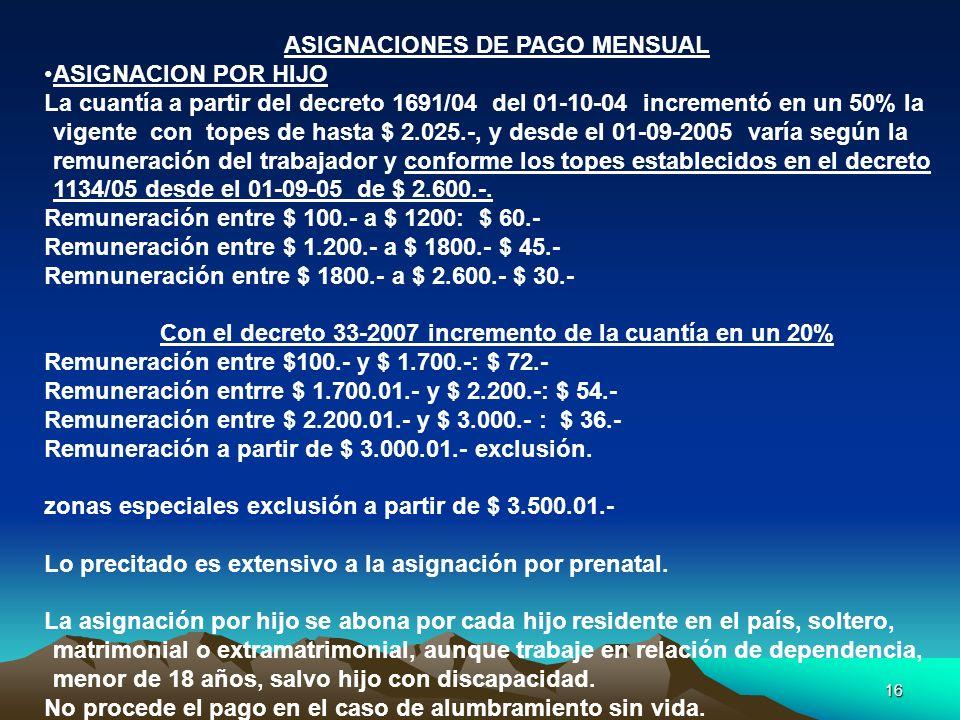 16 ASIGNACIONES DE PAGO MENSUAL ASIGNACION POR HIJO La cuantía a partir del decreto 1691/04 del 01-10-04 incrementó en un 50% la vigente con topes de