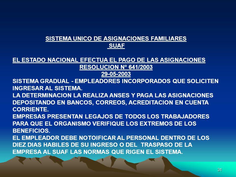 31 SISTEMA UNICO DE ASIGNACIONES FAMILIARES SUAF EL ESTADO NACIONAL EFECTUA EL PAGO DE LAS ASIGNACIONES RESOLUCION N° 641/2003 29-05-2003 SISTEMA GRAD