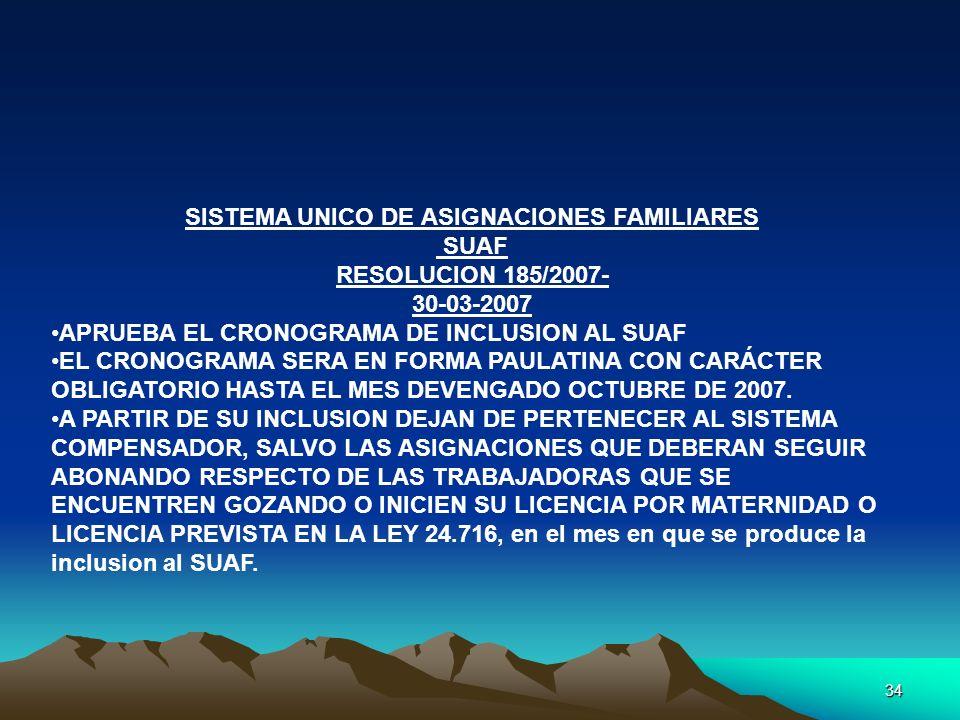 34 SISTEMA UNICO DE ASIGNACIONES FAMILIARES SUAF RESOLUCION 185/2007- 30-03-2007 APRUEBA EL CRONOGRAMA DE INCLUSION AL SUAF EL CRONOGRAMA SERA EN FORM