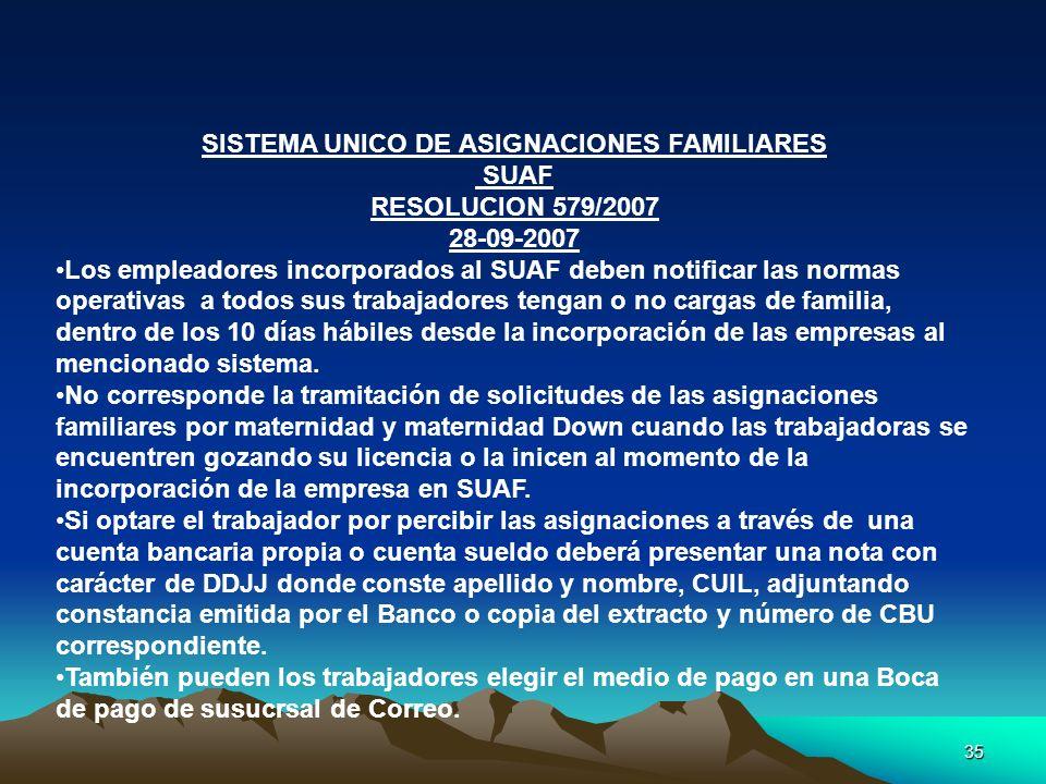 35 SISTEMA UNICO DE ASIGNACIONES FAMILIARES SUAF RESOLUCION 579/2007 28-09-2007 Los empleadores incorporados al SUAF deben notificar las normas operat