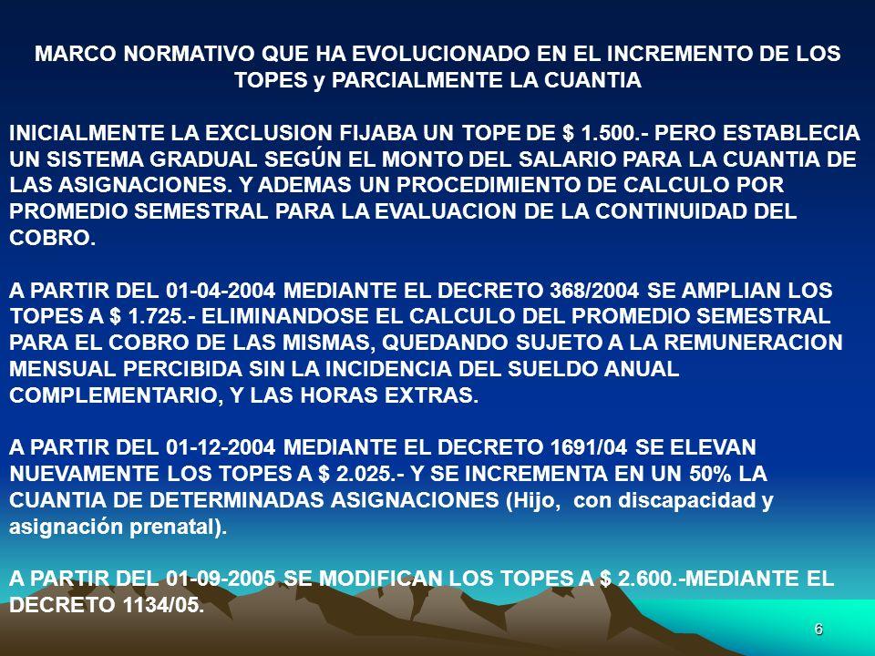 7 MARCO NORMATIVO QUE HA EVOLUCIONADO EN EL INCREMENTO DE LOS TOPES y PARCIALMENTE LA CUANTIA DECRETO PEN 33/2007 23-01-2007 Eleva a la suma de $ 3.000.- los topes máximos de remuneración dispuestos por el decreto 1134-2005 que estaban fijados hasta la suma de $ 2.600.- Para zonas desfavorables se eleva a partir de los $ 3.500.- (Neuquén, Río Negro, Tierra del Fuego, La Pampa, etc.)