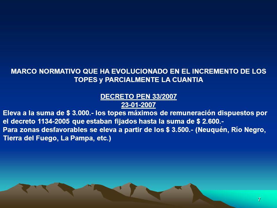7 MARCO NORMATIVO QUE HA EVOLUCIONADO EN EL INCREMENTO DE LOS TOPES y PARCIALMENTE LA CUANTIA DECRETO PEN 33/2007 23-01-2007 Eleva a la suma de $ 3.00