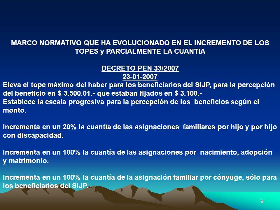 9 MARCO NORMATIVO QUE HA EVOLUCIONADO EN EL INCREMENTO DE LOS TOPES y PARCIALMENTE LA CUANTIA DECRETO 1345/07 VIGENCIA DESDE EL 01-07-07 AUMENTO DEL 40% DE LAS ASIGNACIONES FAMILIARES POR HIJO, HIJO CON DISCAPACIDAD Y ASIGNACION PRENATAL.