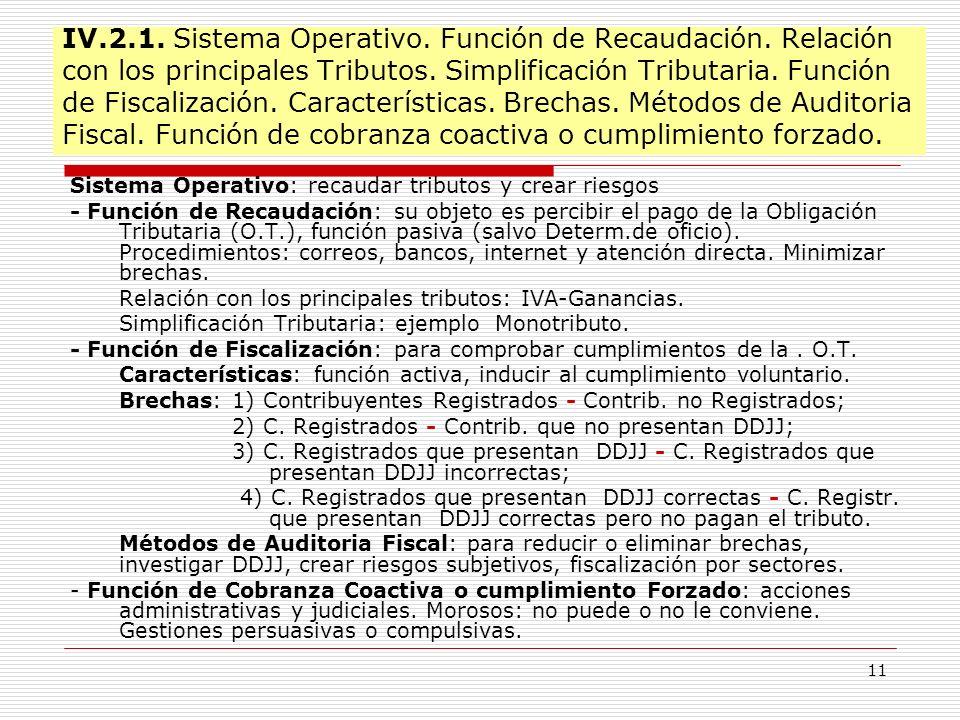 11 IV.2.1. Sistema Operativo. Función de Recaudación. Relación con los principales Tributos. Simplificación Tributaria. Función de Fiscalización. Cara