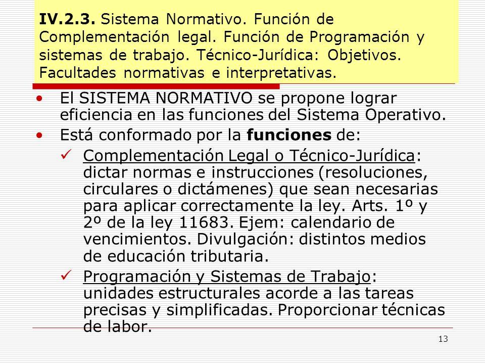 13 IV.2.3. Sistema Normativo. Función de Complementación legal. Función de Programación y sistemas de trabajo. Técnico-Jurídica: Objetivos. Facultades