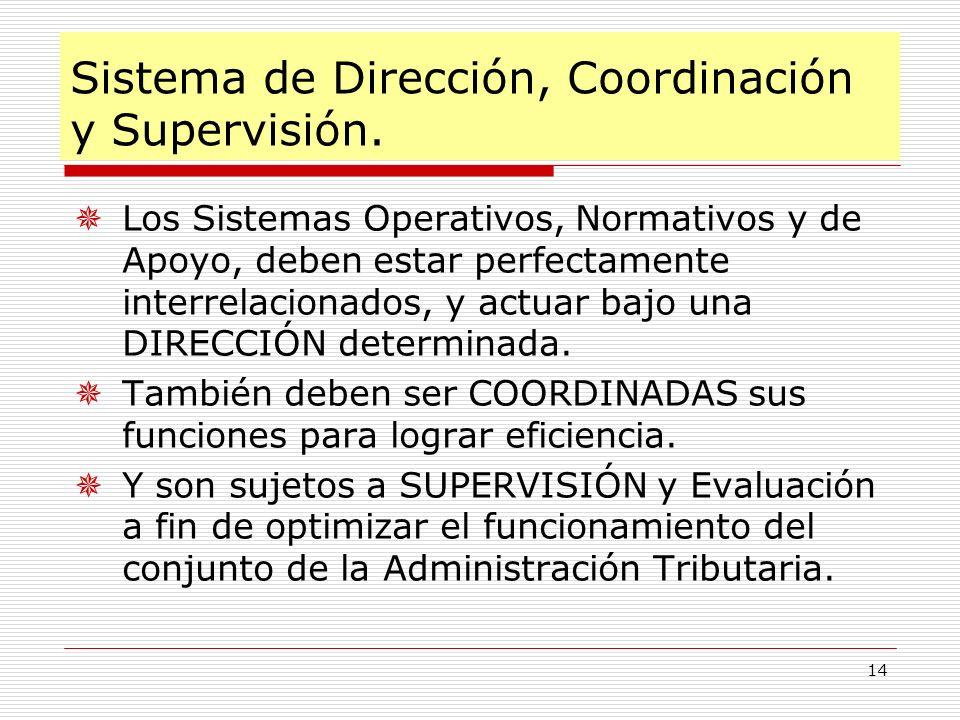 14 Sistema de Dirección, Coordinación y Supervisión. Los Sistemas Operativos, Normativos y de Apoyo, deben estar perfectamente interrelacionados, y ac