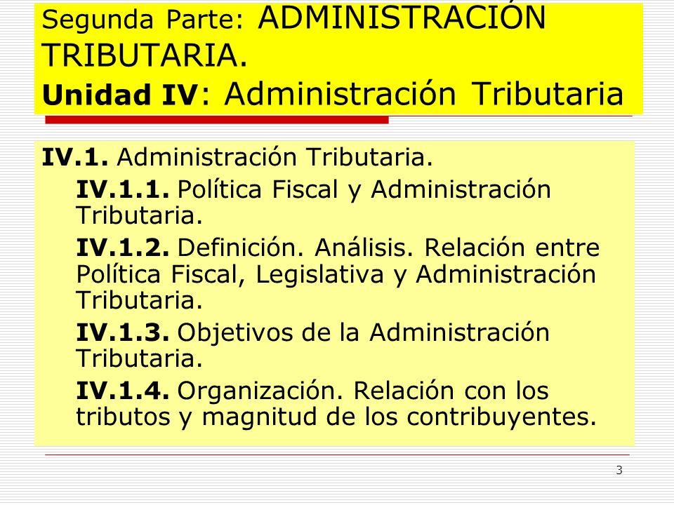 3 Segunda Parte: ADMINISTRACIÓN TRIBUTARIA. Unidad IV : Administración Tributaria IV.1. Administración Tributaria. IV.1.1. Política Fiscal y Administr