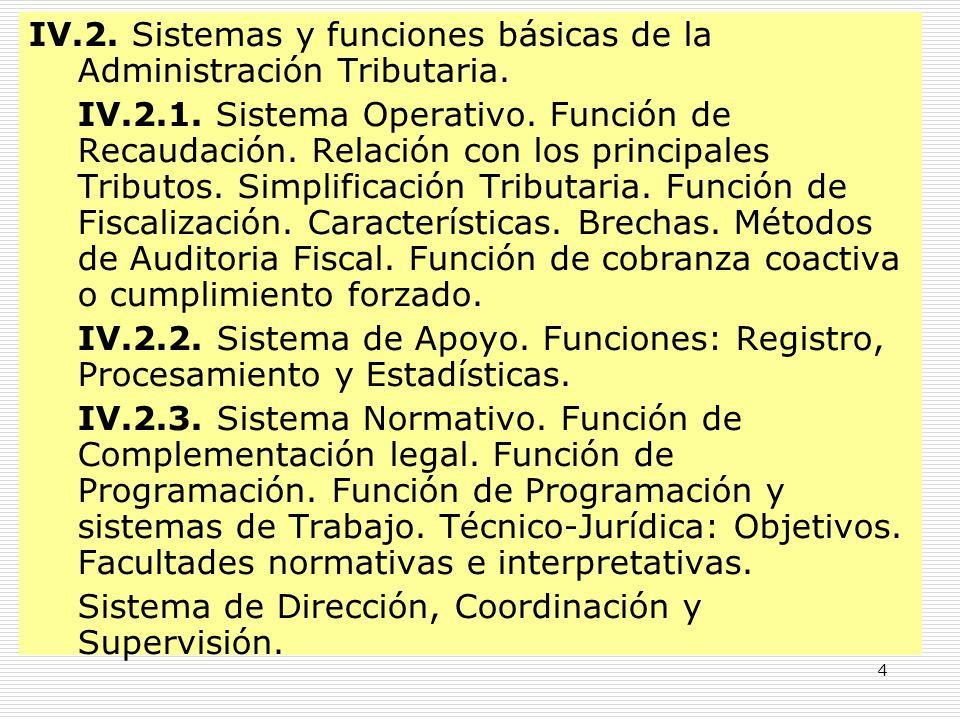 4 IV.2. Sistemas y funciones básicas de la Administración Tributaria. IV.2.1. Sistema Operativo. Función de Recaudación. Relación con los principales