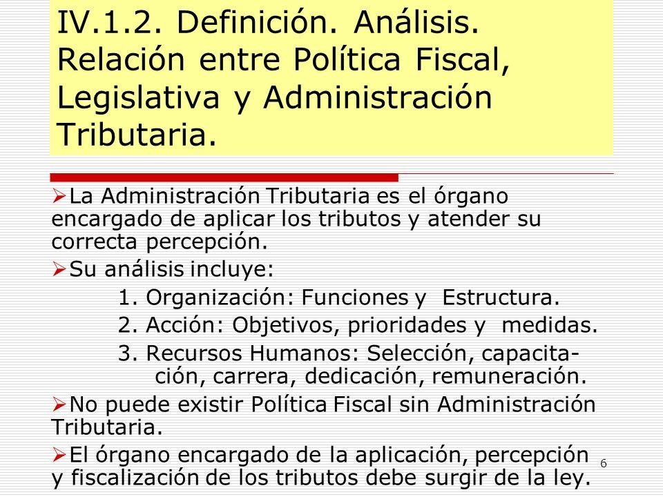 6 IV.1.2. Definición. Análisis. Relación entre Política Fiscal, Legislativa y Administración Tributaria. La Administración Tributaria es el órgano enc