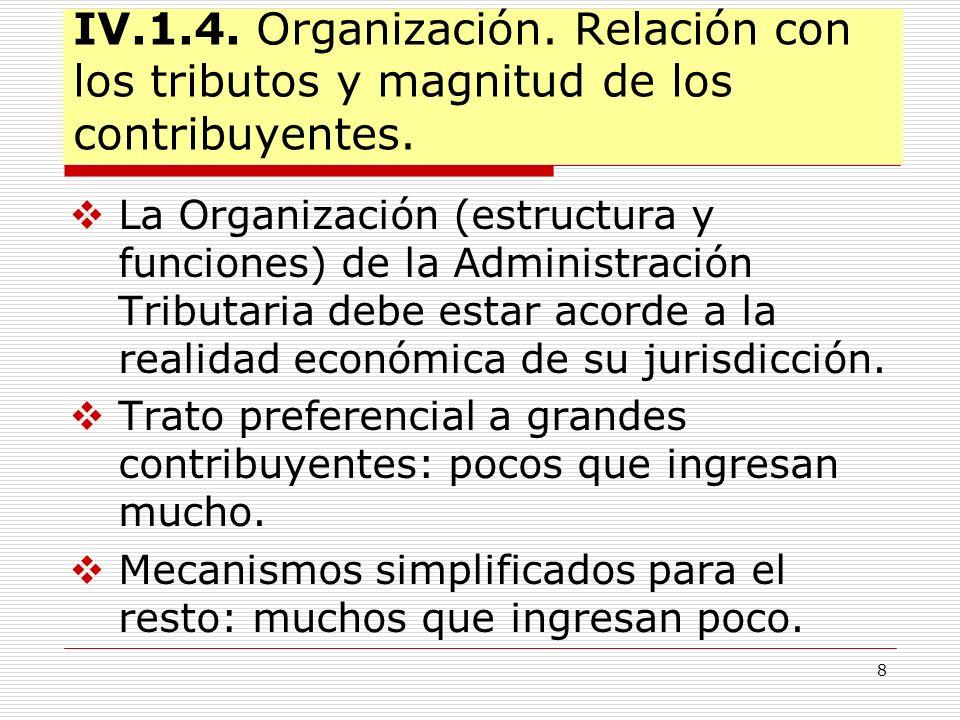 8 IV.1.4. Organización. Relación con los tributos y magnitud de los contribuyentes. La Organización (estructura y funciones) de la Administración Trib