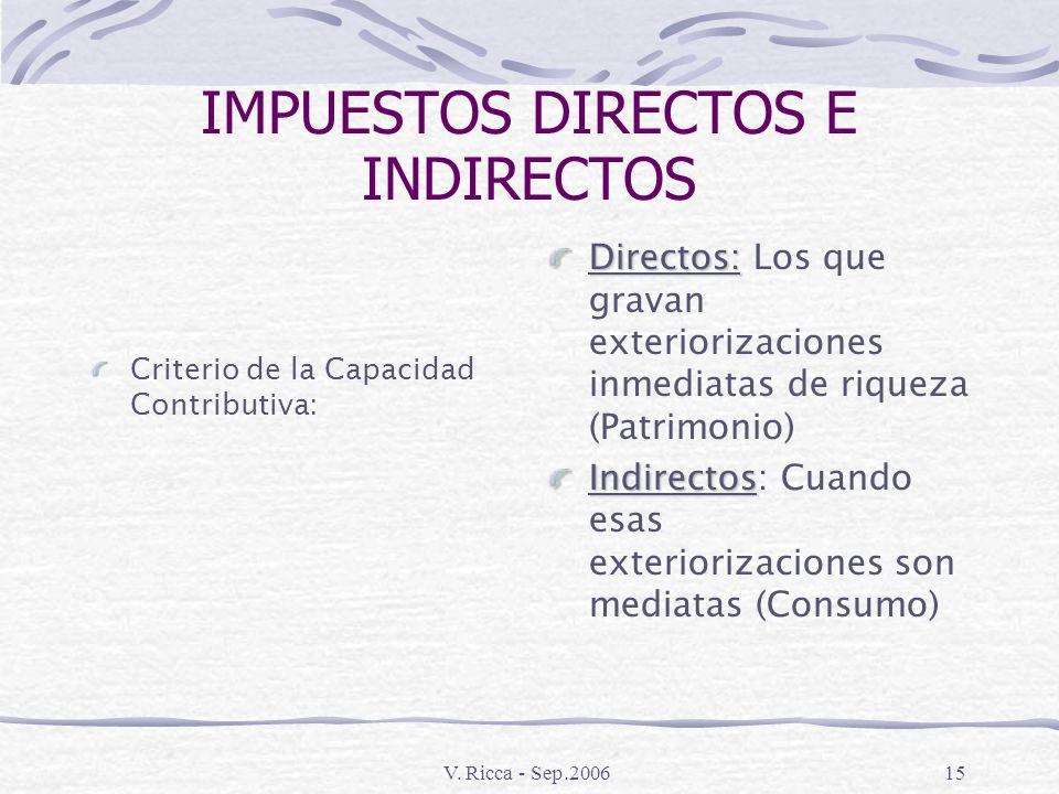 V. Ricca - Sep.200614 IMPUESTOS DIRECTOS E INDIRECTOS Criterio Administrativo – Directos Personales Personales: (Subjetivos) Tienen en cuenta la perso