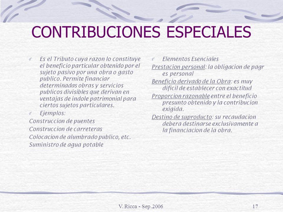 V. Ricca - Sep.200616 TASA Es el Tributo cuyo fundamento o causa consiste en la prestación por parte del Estado de un servicio público individual Exis