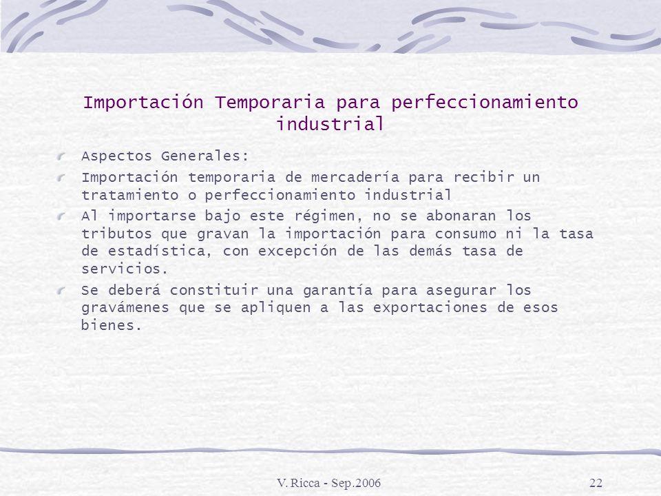 V. Ricca - Sep.200621 Estímulos a las Exportaciones Vigentes Importación Temporaria para perfeccionamiento Industrial Reintegros a la Exportación Draw