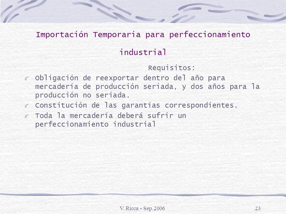 V. Ricca - Sep.200622 Importación Temporaria para perfeccionamiento industrial Aspectos Generales: Importación temporaria de mercadería para recibir u