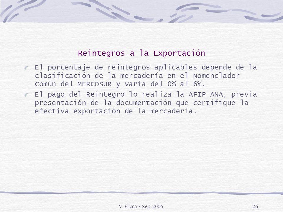 V. Ricca - Sep.200625 Reintegros a la Exportación Aspectos Generales : Los exportadores de mercaderías manufacturadas en el país, nuevas sin uso, goza