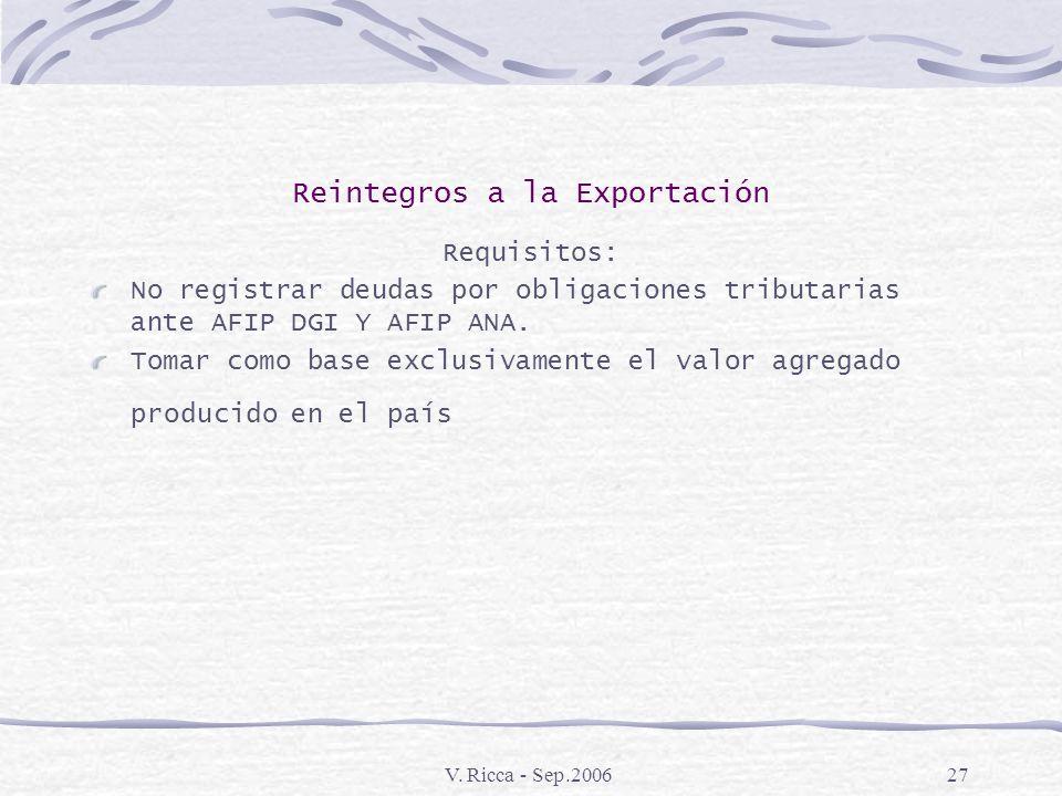 V. Ricca - Sep.200626 Reintegros a la Exportación El porcentaje de reintegros aplicables depende de la clasificación de la mercadería en el Nomenclado
