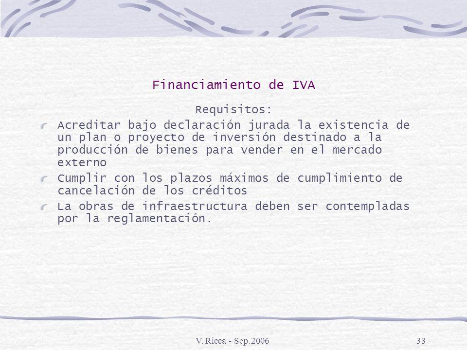 V. Ricca - Sep.200632 Financiamiento de IVA Aspectos Generales El Estado toma a su cargo hasta el 12% de los intereses de financiación de créditos que